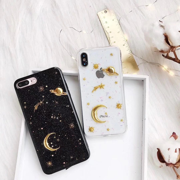 3D Moon stars Bling Glitter phone Cases for iphone 7 7Plus Space planet Soft silicon Case For iphone XR 6 6s 6splus 8 8plus
