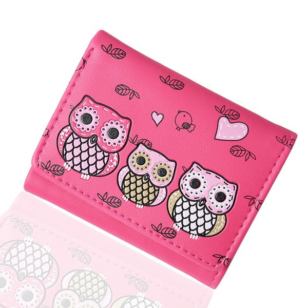 Women Short Wallets Lady Purses Cards Holder Coin Purse Pouch Lovely Owl Clutch Pu Leather Woman Wallet Girls Money Bags Pocket