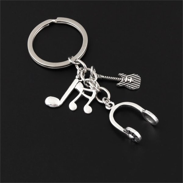 1Pc Vintage Music DJ Headset Keychain Guitar Musical Note Keyring Gifts for Men Women Gift Jewelry Diy Supplies E2581