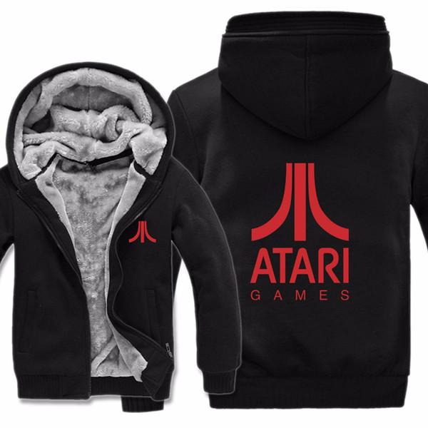 2019 Frete Grátis Homens Casuais Forro De Lã Velo Atari Videogames Camisolas Pulôveres Homem Casaco Atari Hoodies Jaqueta de Inverno