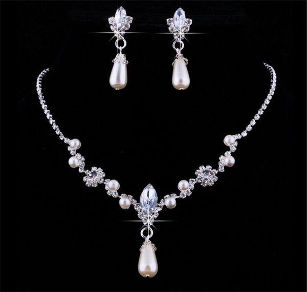 Fashion Women A Set Pearl Crystal Rhinestone Pendant Necklace Earrings Jewelry