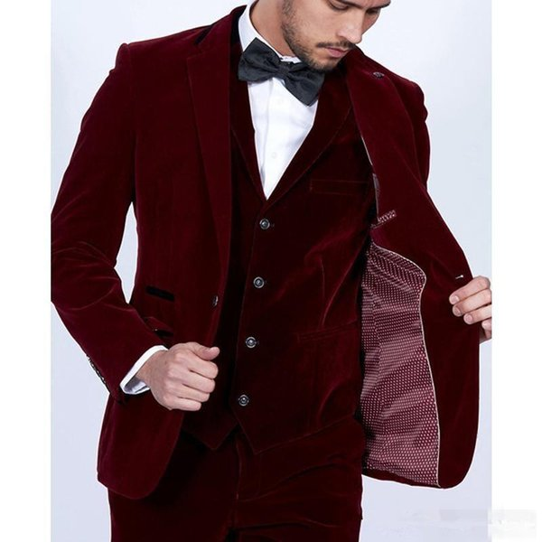 2019 Bordeaux Velours Hommes Costumes Slim Fit 3 Pièce Blazer Sur Mesure Vin Rouge Groom Prom Party Smoking (Veste Pantalon Gilet Cravate)