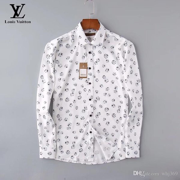 Camisas de leopardo 2019 Onda Dos Homens Estampa Floral Mistura de Cores de Luxo Casual Camisas Harajuku Mangas compridas Camisas Medusa dos homens S - 3XL