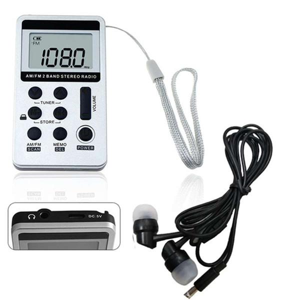 1pc Portable DC 5V Mini Pocket deux bandes radio FM / AM récepteur numérique avec des écouteurs Câble USB