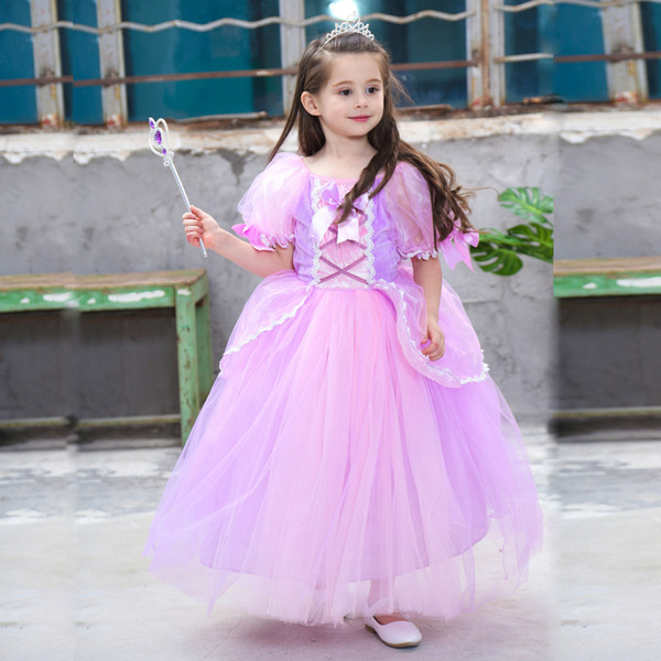 2019 2019 Girls Long Hair Princess Sophia Dress Kids Easter Cosplay Costumes Dresses Ruffle Pleated Vintage Wedding Formal Occasion Dress From