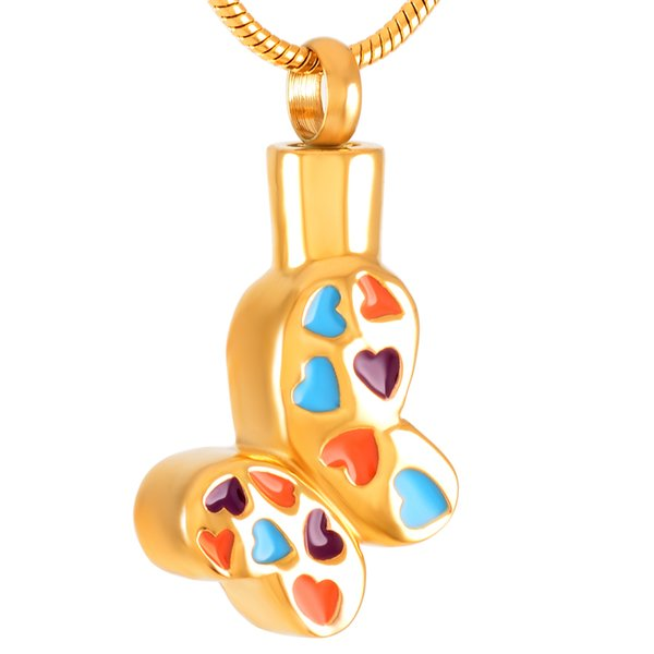 Stainless Steel Cremation MultiColor Butterfly Necklace Shallow Bracket for Ashes Urn Pendant Necklace with Snake Chain Jewelry IJD9367