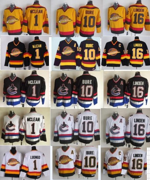 Vancouver Canucks 16 Trevor Linden 1 Kirk Mclean 10 Pavel Bure CCM Vintage Classic Negro Blanco Amarillo barato Jersey cosido NHL