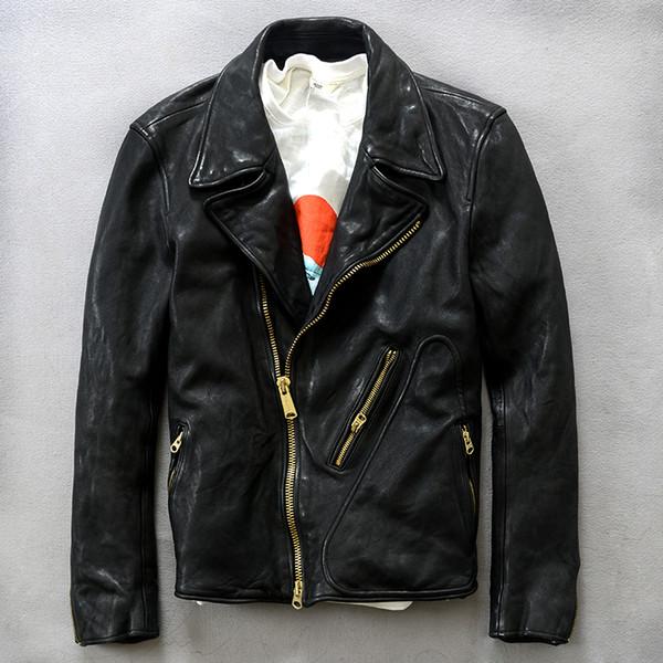 2018 New Genuine Leather Jacket Mens Slim Fit sheep skin Men Fashion Motorcycle Leather Jacket Male Autumn Winter Coat