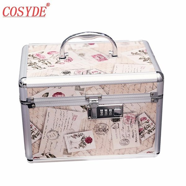 New Fashion Portable Aluminum Alloy Cosmetic Case Large Capacity Password Lock Toiletry Box Built-in Mirror Organizer Makeup Bag