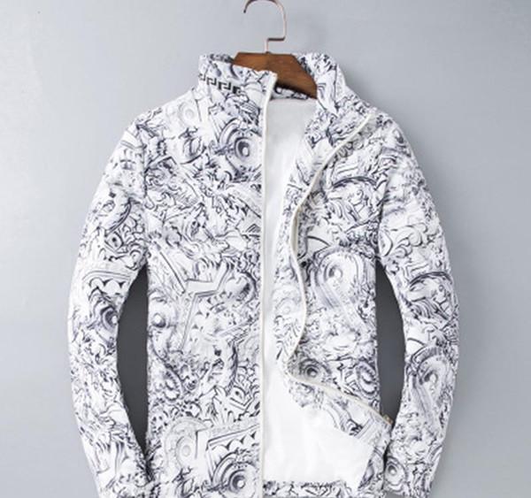 Chaqueta para hombre de la marca geométrica de algodón de manga larga blanca de invierno masculino de la capa del diseñador de moda de vestir exteriores chaquetas tamaño M-3XL93