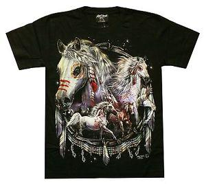 Maglietta Horses Spring Jewellery Taglia S, XL Western Indian Cowboy Riding Mustang