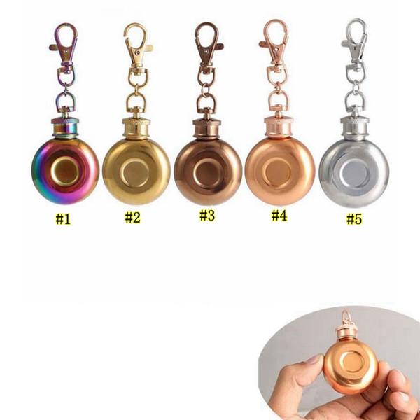 1 oz Mini Hanche Flacon Portable Liqueur Vin Pot En Acier Inoxydable En Métal Petit Hanche Flacon avec Porte-clés 28 ml MMA1932