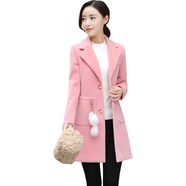 2019 Abrigo de lana Ropa de mujer Largo coreano Primavera y otoño Tit Abrigo de lana popular Mujeres de un solo pecho