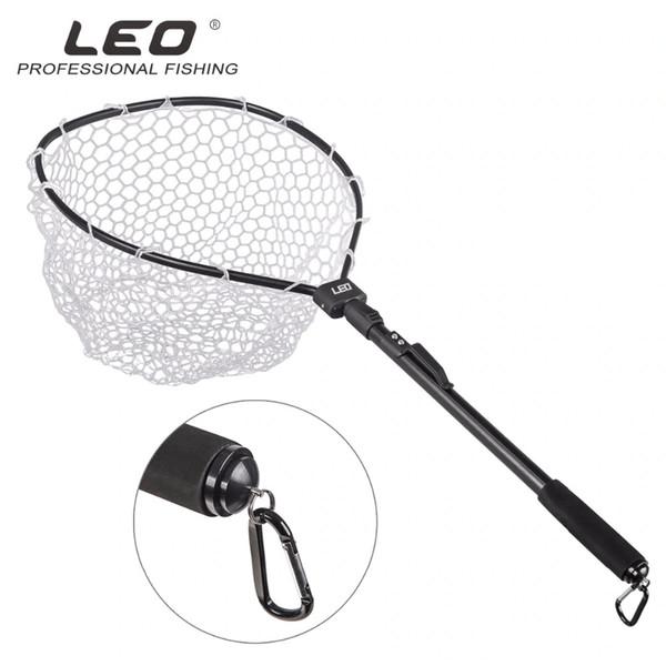 LEO Aluminum Alloy Pole Retractable Rubber Fishing Net Telescoping Foldable Landing Rubber Net for Fly Fishing Network