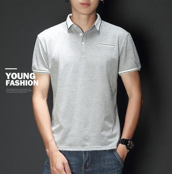 Été nouveaux hommes T-shirt hommes jeunes revers slim tendance demi-manches pour hommes