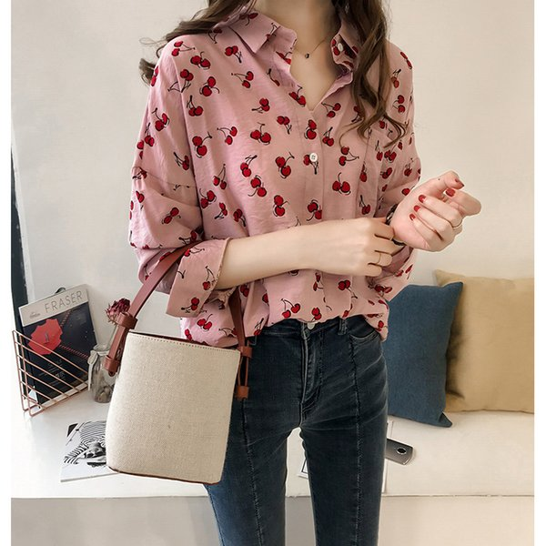 Summer Casual Sweet Cherry Printing Blouse Women Long Sleeve Turn-down Collar Fashion Pink White With Pocket Cardigan Shirt Tops