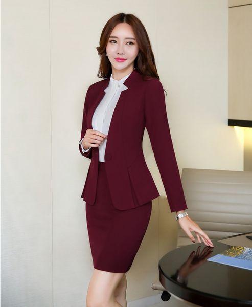 AidenRoy Formelle Büro Uniform Designs Frauen Anzüge Rock und Jacke Sets Damen Weinrot Blazer Elegant