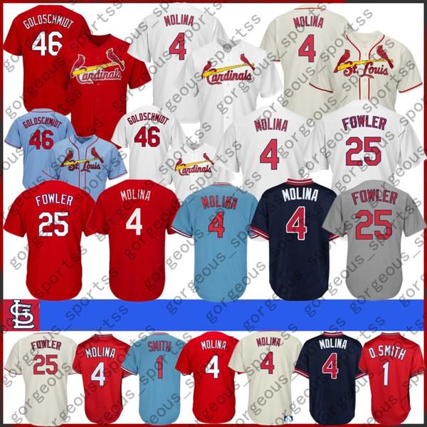 Bordado Jerseys de béisbol de St. Louis Cardenales Ba 1 Ozzie Smith 4 Yadier Molina 25 Jerseys Dexter Fowler 100% cosido Nuevo 2020 Calidad superior