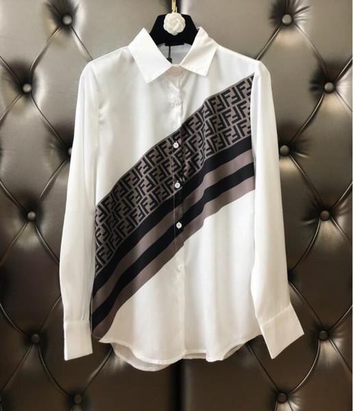 Manga comprida Fina Blusão Mulheres camisa Clássico Logotipo Impresso blusa feminina camisas casaco Cardigan