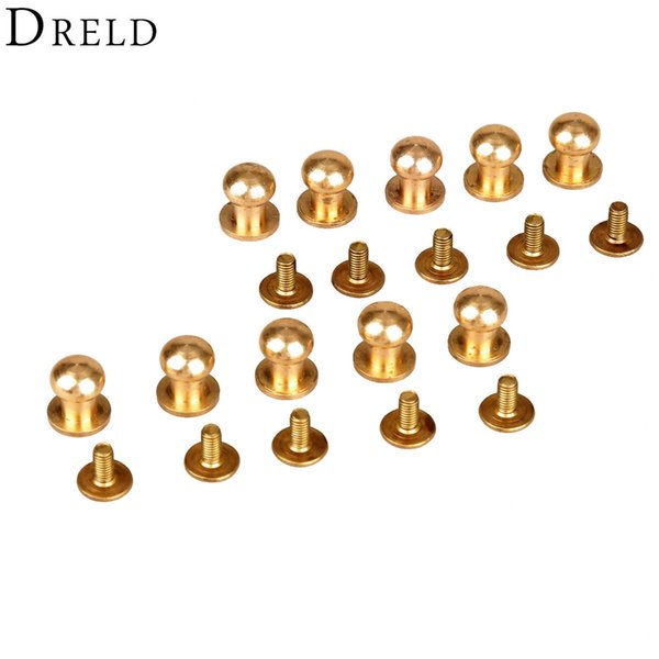 best selling Screws 10pcs Decorative Buttons Leather Tools Brass Bag Rivet Screw Sewing Button Studs botones para manualidades 5 6 7 8 9 10mm