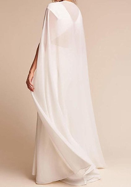 meibida Cloak for Women White Long Wraps Cape Chiffon Party Scarves