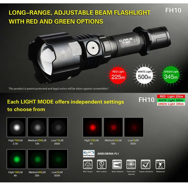 Torcia KLARUS FH10 Zoomable tattica caccia Torcia verde rosso bianco LED