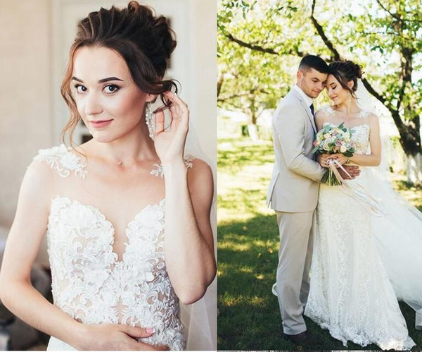 2019 Illusion Mermaid wedding dresses Sexy Sheer neck Lace Appliqued Bridal gowns with detachable train custom made classy vestidos de novia