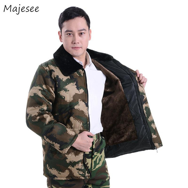 Parkas Men Winter Thicker Large Size Warm Turn-down Collar Outerwear Mens Pockets Leisure Simple High Quality Camouflage Coats