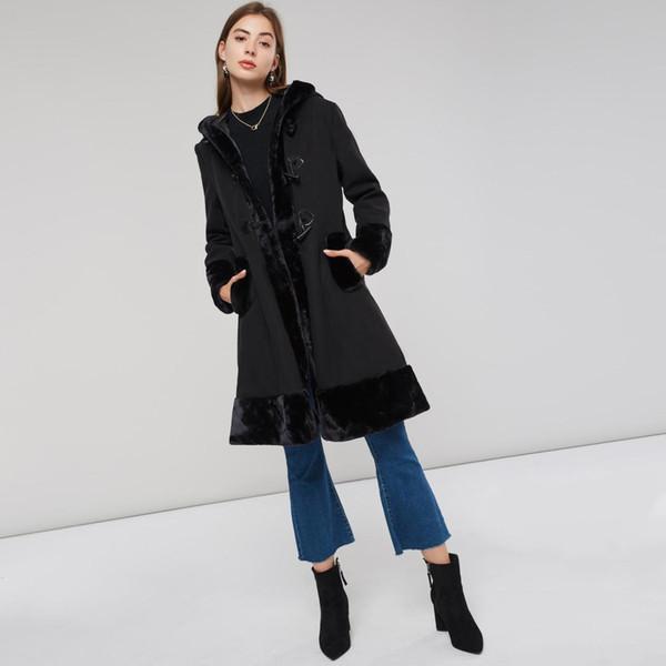 Женщины черный с капюшоном Зимней шерсти бленды Пальто Полного Рукава Осень Зима теплой женщина Длинные плащи Outwear Назад Узелок Outwear