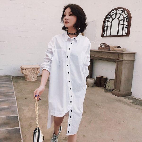 2019 LIVIVIO Plus Size Women Long Sleeve Shirt Dress 2019 Summer Chiffon  White Beach Dresses Casual Party Dress Vestidos From Candycloth, $36.59 |  ...