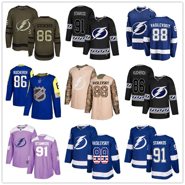 best selling Custom Tampa Bay Lightning Jersey Steven Stamkos 86 Nikita Kucherov 88 Andrei Vasilevskiy 21 Brayden Point 37 Yanni Gourde USA Flag hockey