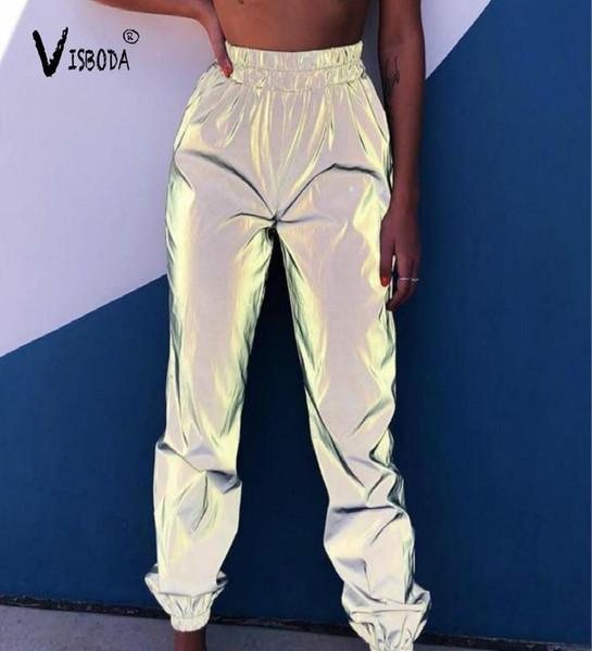 Mulheres Casual Sweatpants Harem brilhar Hip Hop Calças reflexiva Moda 2.019 fêmeas calças largas dança Plus Size Pantalon Femme MX190714