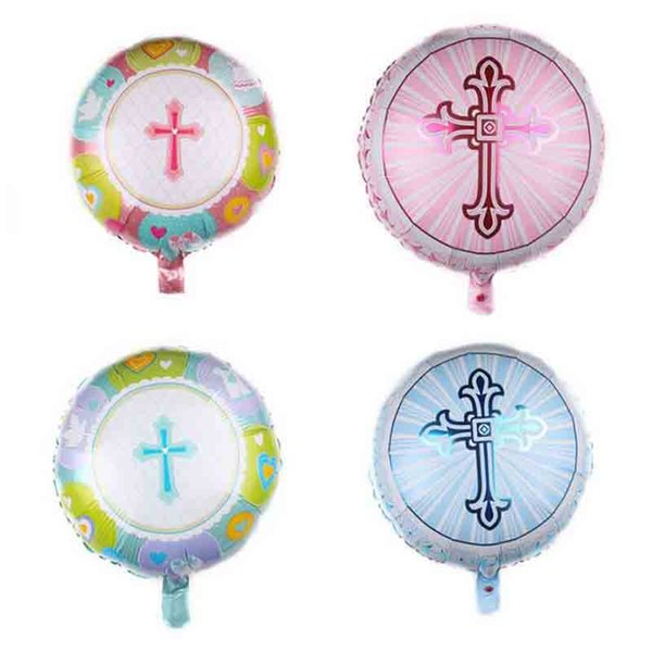 10 Pcs Novelty Easter Cross Round Balloons Inflatable Helium Pentecost Jesus Cross Easter Decoration Balloons Air Ballons