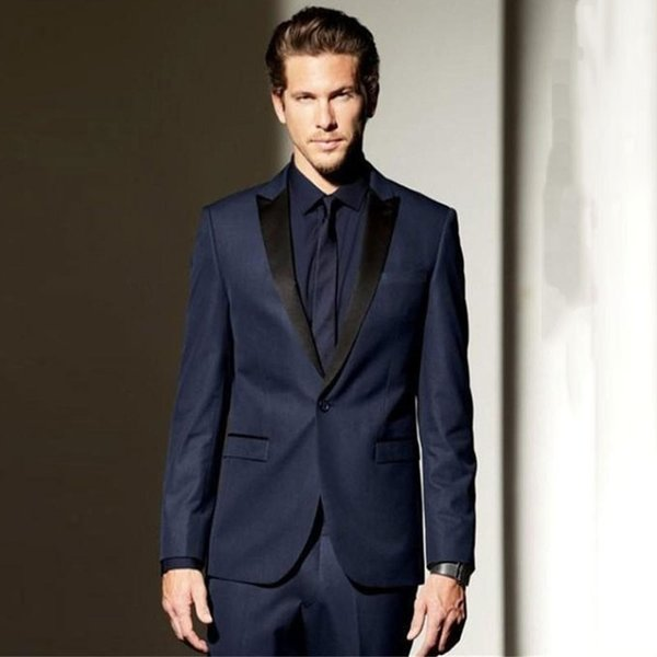 Navy Blue Men Suits for Beach Wedding Man Suits Black Peaked Lapel Groom Tuxedos 2Piece Coat Pants Costume Homme Slim Fit Terno Masculino