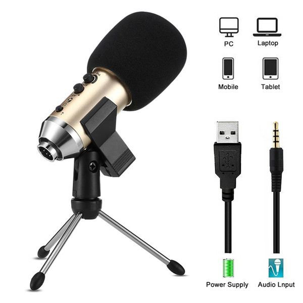 MK-F500TL Phone Microphone For Computer Professional Condenser Wired USB Studio Mic For Karaoke Recording With Stand Tripod