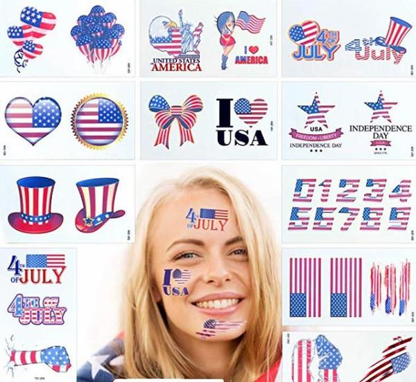 Neue USA-Flagge 4. von vorübergehenden Tätowierungs-Unabhängigkeitstag-vorübergehenden Tätowierungs-amerikanischen patriotischen Aufklebern Juli für Partei-Versorgungen
