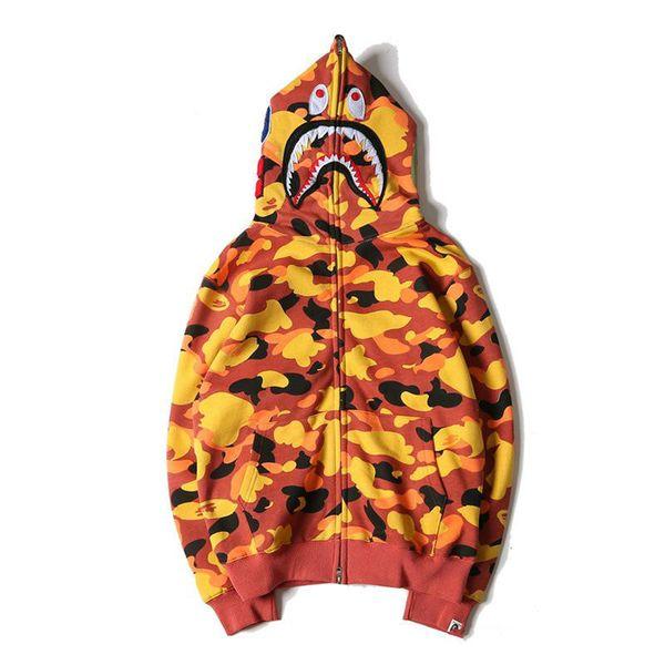 New Autumn Winter Orange Camo Shark Hoodies Women Men Hip Hop Hoodie Sweater Personality Color Fleece Zipper Hoodies