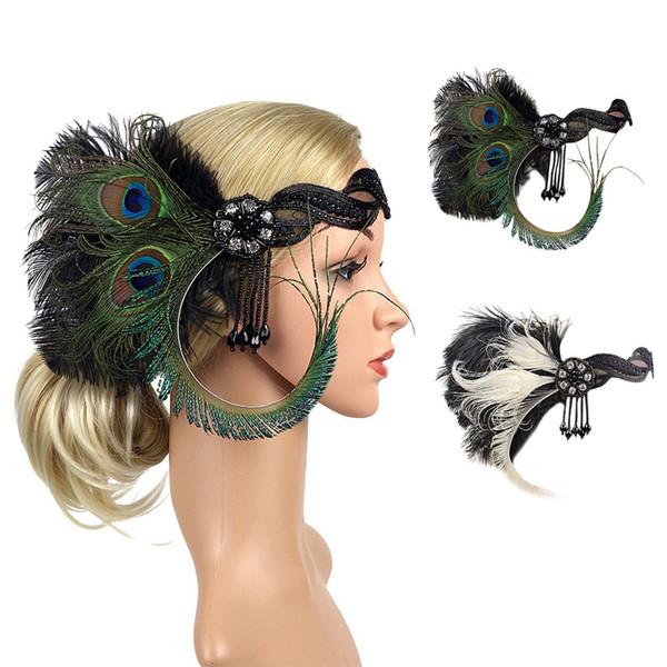 1920er Jahre Kopfschmuck Feder Flapper Stirnband Great Gatsby Headdress Vintage 9.7