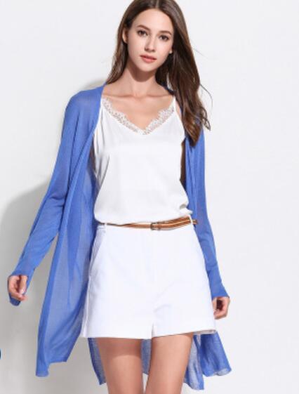 Nueva seda fría como el hielo, suelta y de gran tamaño, cárdigan de punto de estilo largo, camisa delgada con aire acondicionado y protector solar de manga larga, 2019