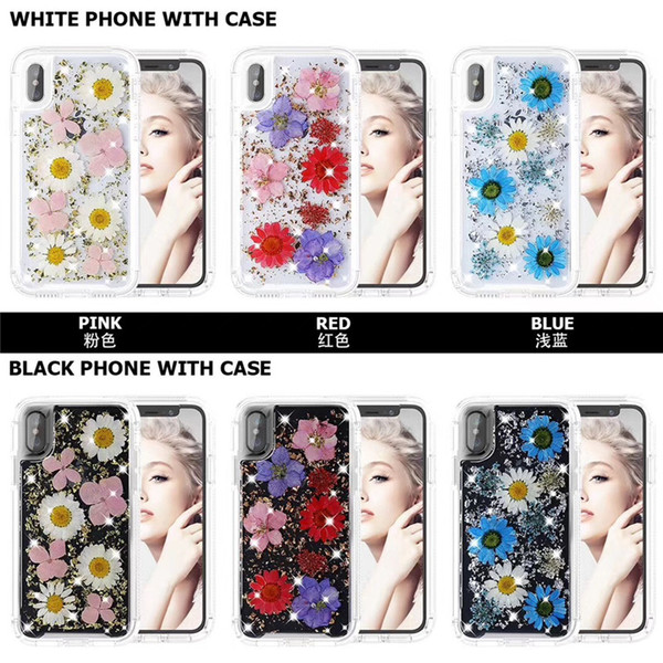 Bling Floral Transparent Clear Gold Foil Embedded Phone Case Real Dried Flower Cover for iPhone XS MAX XR X 8 7 Plus Samsung S9 Plus Note 9