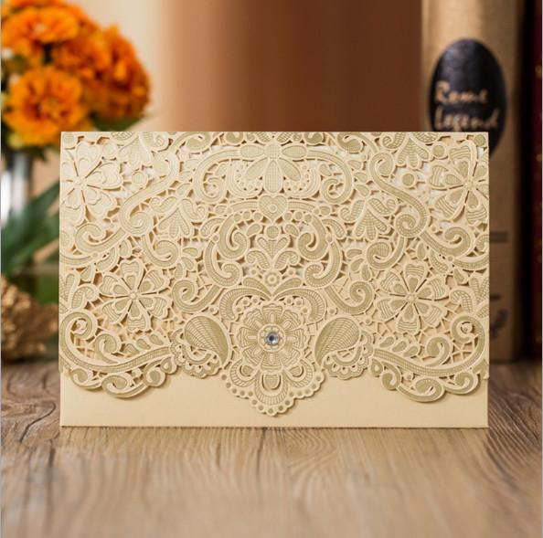 2019 Hot Selling Wedding Invitations Cards White Laser Cut Personalized Printable With Lace Flora Favors