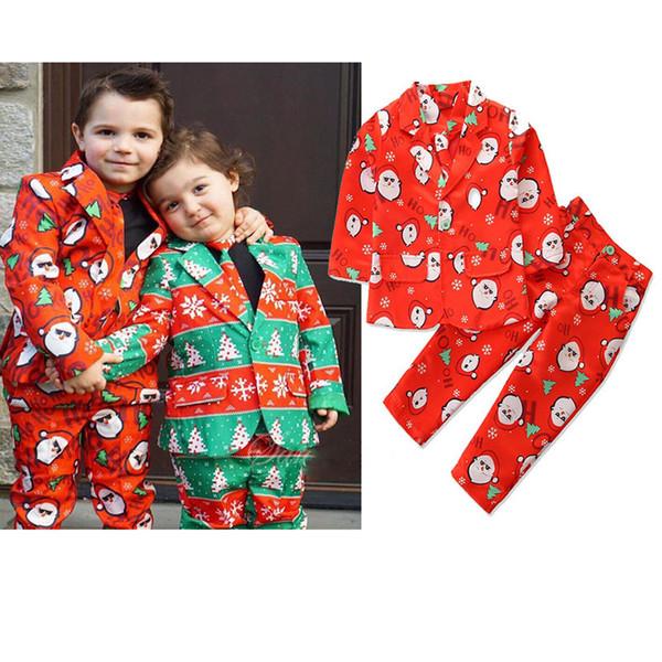 enfants vêtements de marque garçons tenues de Noël enfants Santa Claus cravate imprimée + Blazer + pantalon 3pcs / set Printemps Automne bébé Vêtements ensembles C828