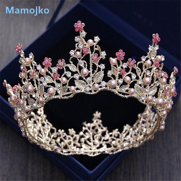 Mamojko Baroque Feuille Imitation Perle Princesse De Mariée Couronnes Drop Diadèmes Pour Femme Fleur De Mariage De Bijoux De Cheveux Accessoires C19022201