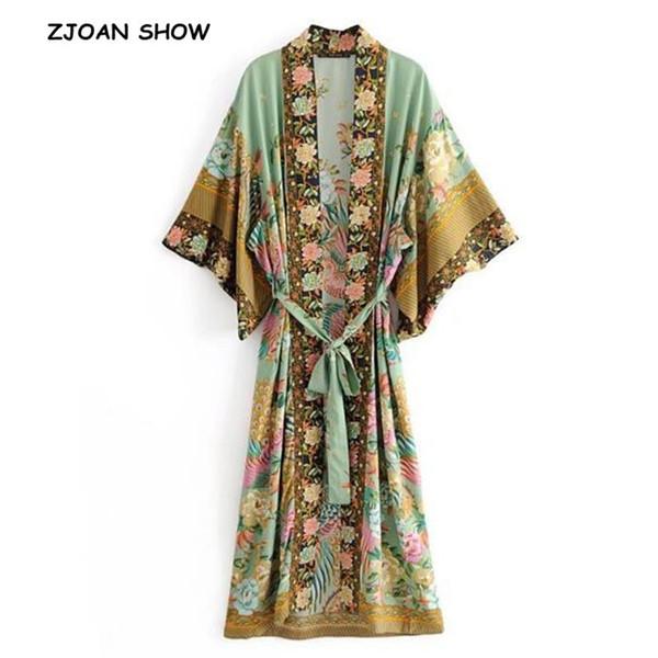Bohemian V Boyun Tavuskuşu Çiçek Baskı Uzun Kimono Gömlek Etnik Yeni Sashes Ile Bağcık Uzun Hırka Gevşek Bluz Femme J190613 Tops