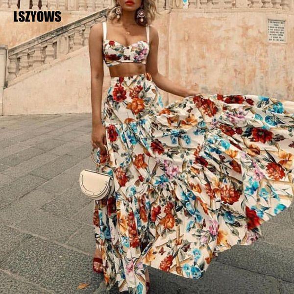 Bohemian Floral Print Two Piece Set Mulheres Cintas Sexy Colheita Top E Cintura Alta Plissado Maxi Saia Ternos Verão Praia Outfits Festa