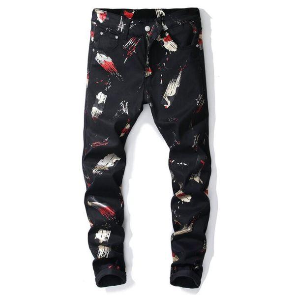 Yeni Batı tarzı kot erkekler Dijital baskı Pantolon Slim fit çiçek kot pantolon moda elastik kuvvet Siyah rahat pantolon siyah