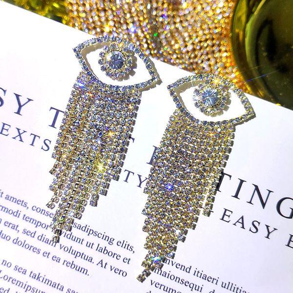 JUSTE FEEL Evil Eye Tassel Déclaration Boucles d'oreilles de femmes de fille de mariage d'argent brillant Cristal Boucles d'oreilles Party Mode Bijoux Cadeaux