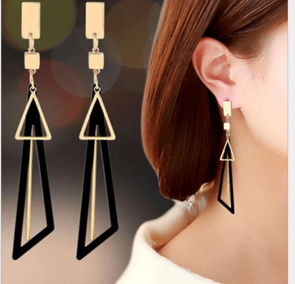 Korean temperament long tassel earrings personality earrings simple earrings female