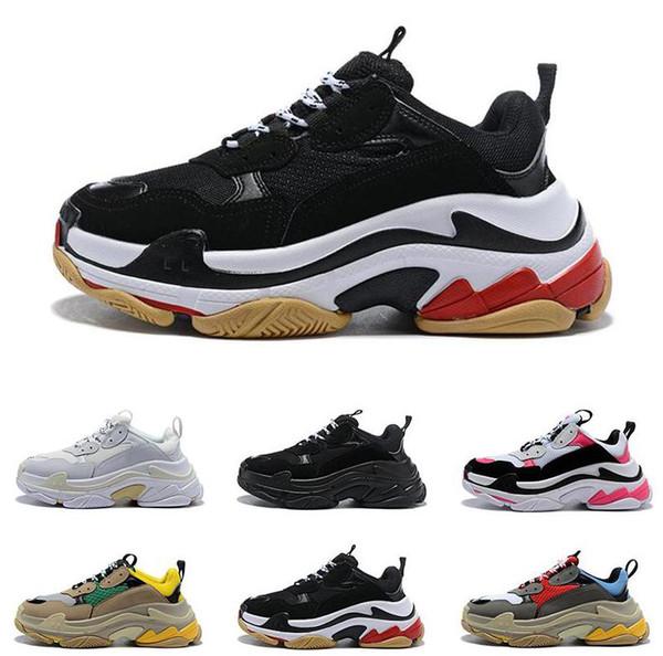 2019 best quality Fashion Paris 17FW Triple-S Sneaker Triple S Casual Dad Shoes for Men Women Beige Black Sports Tennis Shoe