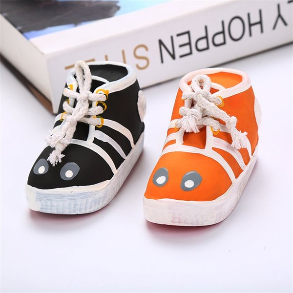 Dog Shoes Small Puppies Shoe Natural Latex Pet Toy Biting Resistance With Shoelace Black Orange Hot Sales 5 2meC1